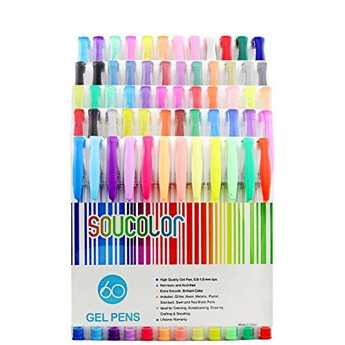 Soucolor 60 Gel Stifte Set Gelschreiber ideal f¨¹r Erwachsene Malb¨¹cher, Scrapbooking, Zeichnung, Doodle, Craft und Kids-Projekte