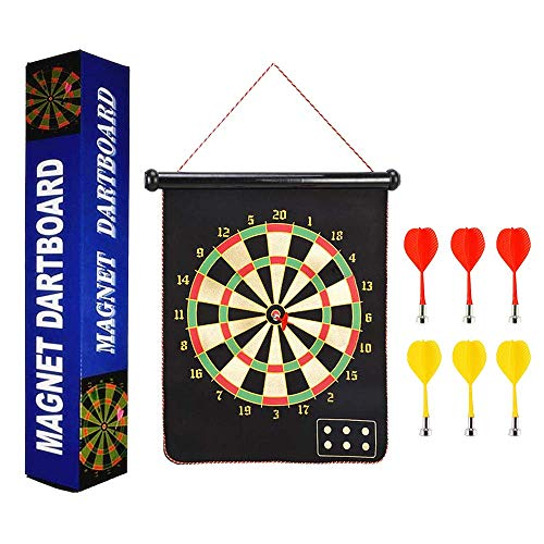 Darts Dartscheibe Board,Magnetische Dartboard Mit 6 Umschaltbaren Pfeilen ein, die Zweiseitiges Magnetisches Dartscheibe-Bullseye-Spiel für Kinder Familien Freizeit Sport rollen (Black, 15 inches)
