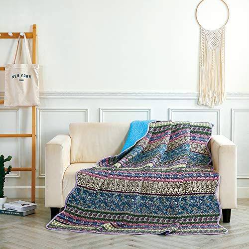 Alicemall Tagesdecke Quilt Sommerdecke Baumwolle mit Blumenmuster und Wellensaum Tagesdecke Sofa Decke Steppdecke 150 x 200 cm Einzelbett(Retro Blau)
