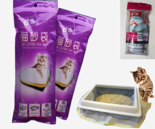 Manfa Katzenklo-Beutel Beutel für Katzentoilette Katzentoilettenbeutel Beutel Tüten Einlagen 2 Packungen (14 Taschen) Trial Müllsäcken 915*457MM 8bags als Geschenk (mittel)