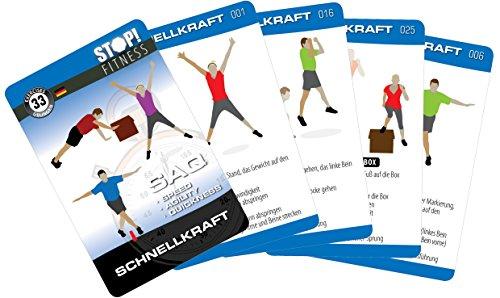 Stop! Fitness | Schnellkraft (Plyometrics) | Trainingskarten Übungskarten, deutsche Version, Kartengröße 66 x 100 mm mit Kunststoffbox - SAQ Serie -