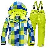 LSERVER Jungen und Mädchen Winddicht wasserdicht gepolsterten Skianzug zweiteilig Skijacke + Skihose, Blaues Top + Fluoreszierende grüne Hose, 134/140(Fabrikgröße: 140 cm)