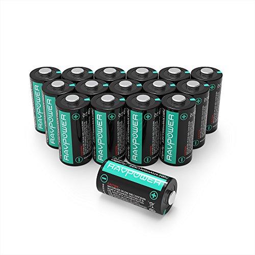 RAVPower CR123A Batterie al Litio 3V 1500mAh l'Una, 10 Anni di Conservazione, Pacco da 16, per Arlo Videocamera, Flashlight Photo, Fotocamera Digitale, Torcia, Giocattoli, Microfoni, ecc