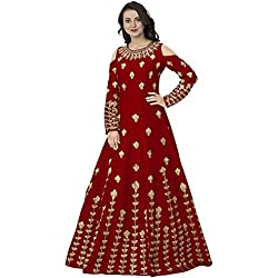 Siddeshwary Fab Women's Red Taffeta Silk Embroidered Lehenga Gown for Women ( G04_Red Priya Gown )