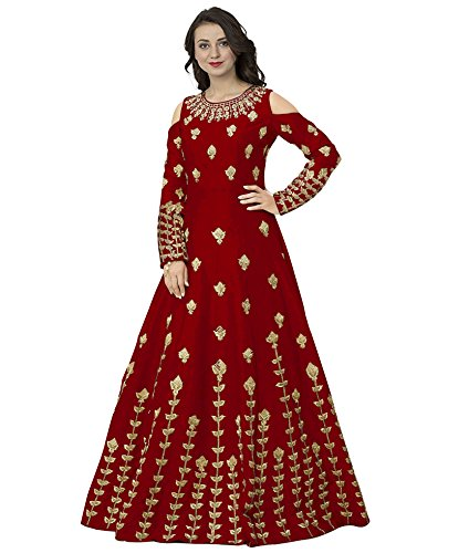 Siddeshwary Fab Women's Red Taffeta Silk Embroidered Lehenga Gown for Women (...