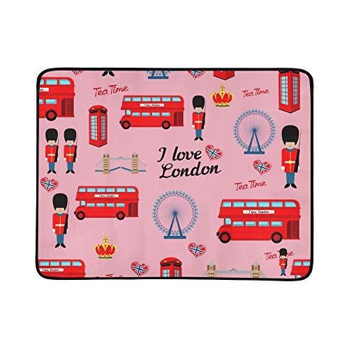 WYYWCY Nette London-Schutz-Karikatur-Muster-tragbare und Faltbare Deckenmatte 60x78 Zoll-handliche Matte für kampierenden Picknick-Strand -
