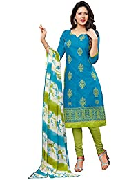 Regalia Ethnic Women's Cotton Dress Material (MFRE130_Free Size_Blue)