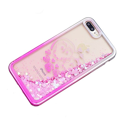 iPhone 7 Plus Hülle, Voguecase Flüssig Schwimmend Treibsand Glitzer Bling Silikon Schutzhülle / Case / Cover / Hülle / TPU + PC Gel Skin für Apple iPhone 7 Plus 5.5(Schmetterling Mädchen 04) + Gratis  Rose Eule