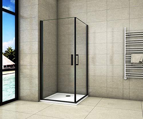Aica Sanitär Duschkabine 80x80cm Duschabtrennung Schwarz Drehtür aus 8mm Sicherheitsglas mit Nanobeschichtung 200cm Höhe