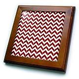 3dRose rot und weiß Chevron Fischgrätenmuster 820,3cm (FT 212473_ 1), 8x 8Fliesen