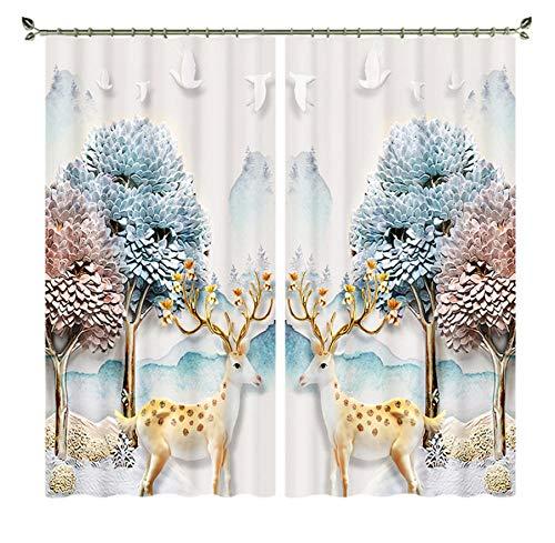 MUXIAND Cortina de Ventana de Ciervo Opaco 3D Cortina Suave de árbol Colorido Sika para Sala de Estar Tapiz de Pared de Cama de Hotel Cortinas