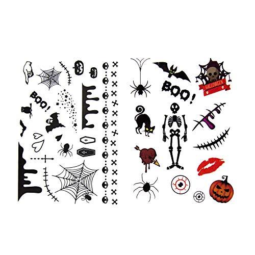 Oblique Unique® Temporäre Kinder Tattoos für Halloween - 36 Gruselige Motive zum Erschrecken mit Spinnen Skelett Fledermaus Gespenst UVM.