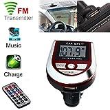 Xshuai 69x46x 12mm LCD Auto MP3 MP4 Spieler Wireless FM Transmitter Modulator SD / MMC-Karte mit Fernbedienung (Rot)