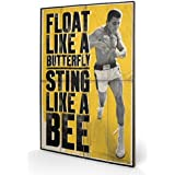 Set: Muhammad Ali, Schweb Wie Ein Schmetterling, Stich Wie Eine Biene Poster Auf Holz (60x40 cm) + 1x 1art1® Aktions-Home-Deko Artikel
