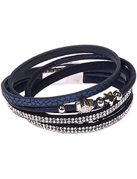 SL-222 Kossberg Damen Leder Armband Strass Glitzer Stern Wickelarmband