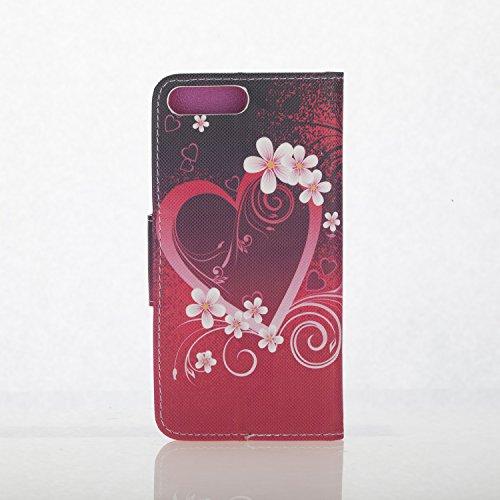 Custodia iPhone 7 Plus, iPhone 7 Plus Cover, ikasus® iPhone 7 Plus Custodia Cover [PU Leather] [Shock-Absorption] Protettiva Portafoglio Cover Custodia Bella arte colorato disegno farfalla fiore flore Fiorediamoredelcuoredel fiorediciliegia