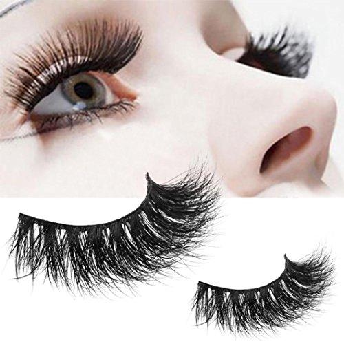 Moonuy 1 Paire Crisscross 3D Faux Cils Longs Épais Faux Cils Naturels Thick Fake Eye Lashes Natural Recourbé 3D Maquillage de fête Parfaits Cils Recourbe-cils Accessoires (Noir)