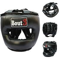 Profesional MMA Kopfschutz Cajas Casco Protección para Libre Lucha Muay Thai Kickboxing UFC Sparring de entrenamiento Krav Maga Deportes de Lucha Saco de boxeo de alta calidad construcción-de bout3, negro