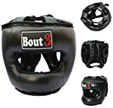 Profi MMA kopfschutz Boxen Helmschutz für freier Kampf Muay Thai Kickboxen UFC Sparring-training Krav Maga Kampfsport Boxsack Sandsack- hochwertige Konstruktion - von BOUT3 (Black, Medium)