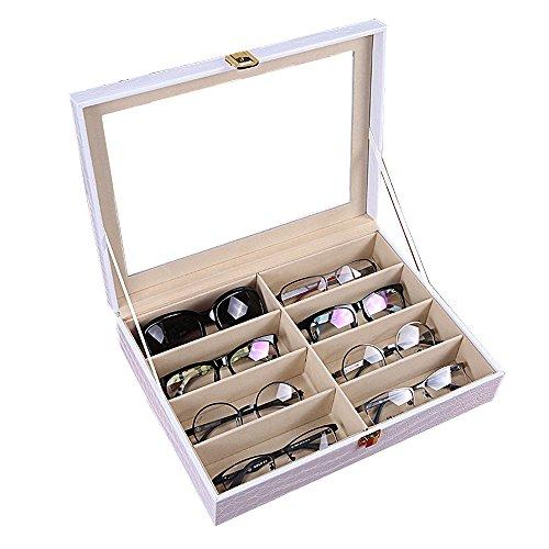 Krokodil-Kunstleder Box Unionplus 8Einschübe für Sonnenbrillen oder Brillen, Display Aufbewahrung, Organizer Sammelbox White Croco