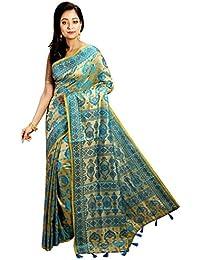 Avik Creations Women's Full Embroidered Latest Design New Collection Assam Tassar Art Silk Saree Blue Golden
