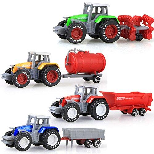 elegantstunning 4pcs/Set Auto Giocattoli Bambini Giocattoli Simulazione Lega Trattore Engineering Truck Xmas Veicoli Modelli Sacchetti di Halloween per Bambini