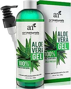 ArtNaturals Aloe Vera Gel Kaltgepresst - 100% Naturrein - Feuchtigkeitspflege für Haut und Haar - Für Sonnenbrand, Hautreizungen, Insektenstiche - After Sun - 354 ml