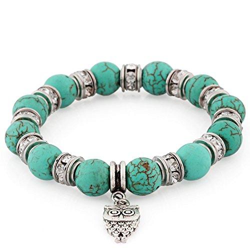 Morella® Damen Armband Steinperlen mit Anhänger Eule und Zirkoniasteinen elastisch türkis Armband Mit Türkis-perlen