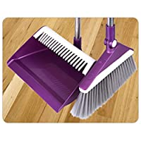 CZLSD Broom Set Combination Rotating Sweeping Soft Broom Indoor Self-supporting Broom And Broom Set (Color : Purple)
