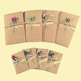 ZeWoo Cartolina di Auguri, 4 pezzi grandi + 4 pezzi piccoli, Fatti a Mano Retrò Carta Kraft, Buste Vuote, Fiori Secchi…
