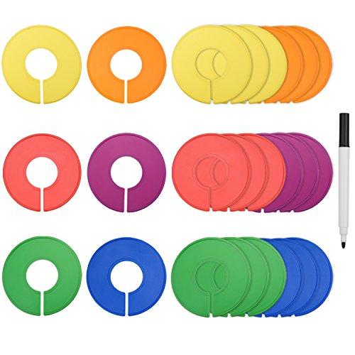 Blulu Separador de Tallas de Ropa Separador de Armario Redondo, Colorido, 24 Piezas con 1 Rotulador