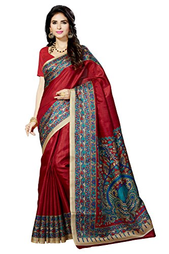 Rani Saahiba Art Silk Saree With Blouse Piece (SKR3062_Maroon_One Size)