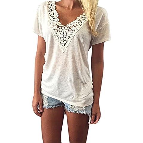 Fortan Le donne maglia di estate Top manica corta camicetta carro casuali parti superiori T-shirt in pizzo