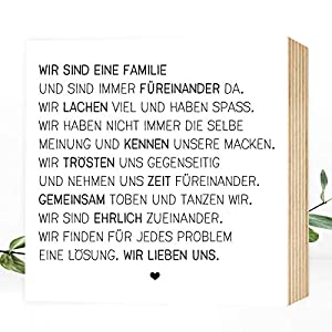 Wunderpixel® Holzbild Wir sind eine Familie - 15x15x2cm zum Hinstellen/Aufhängen, echter Fotodruck mit Spruch auf Holz - schwarz-weißes Wand-Bild Aufsteller Zuhause Büro Dekoration oder Geschenk