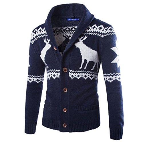 Elecenty Herren Weihnachten Sweatshirt Sweater Strickjacke Cardigan Christmas Männer Xmas Knitwear Coat Jacket Weihnachtspullover Pullover Strickpullover strickmantel strickwaren (XL, Marine) (Wool Zip-cardigan)