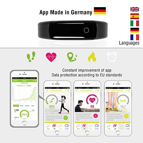 Sharon Fitnessarmband Herzfrequenzmesser Pulsuhr Aktivitäts-, Schlaf- und Fitness Tracker | instant Herzfrequenzmessung, Schrittzähler, Uhrzeitanzeige, Weckfunktion | 30 Tage Akkulaufzeit | saunafest, wasserdicht (IP68) |App für Android und iOS | integriert Apple Health,Google Fit | Anruf/SMS-Benachrichtigung | Apple iPhone 7 und 8, Samsung S7 und S8, Huawei, LG, Sony - 3