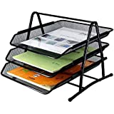 SIBY 3 Tier Metal Mesh Document Rack File Holder Letter Tray for Office, 1Pc(Black)