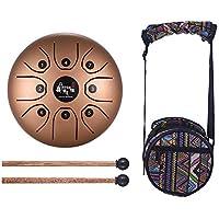 muslady Stahl Tongue Drum 14cm Mini 8-tone C Schlüssel Percussion Instrument Hand Pan Drum mit Drum Mallets Tragetasche goldfarben