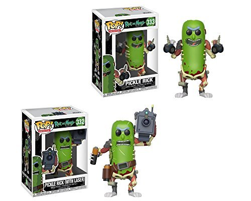 Funko Pop Animation Rick & Morty Pickle Rick, Pickle Rick (w/Laser) Vinyl Figures SET