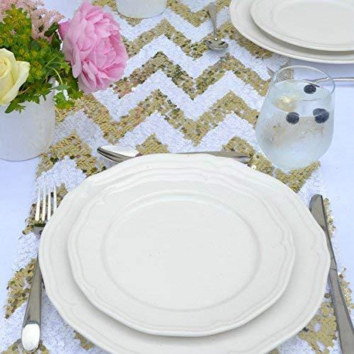 Pingrog Glitzer Silber Pailletten Tischläufer 14 X 120 Inch Glitzernden Unikat Pailletten Stoff Für Hochzeit Event Party Tisch Dekoration Blush 14X120In (Color : Gold Chevron, Size : Size)