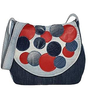 Damen Umhängetasche mit Überschlag Denim Leder Schultertasche Crossbody Jeans Tasche Damentasche Studententasche Retro…