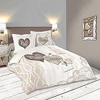 LOVELY CASA Bonheur Housse de Couette 260 x 240 cm avec 2 Taies d'oreiller 63 x 63 cm, Coton, Beige