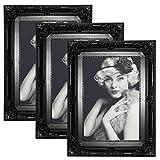 WOLTU 3er Packung Bilderrahmen 10x15cm Bild Rahmen Foto Galerie Bilder Collage Plastik Barock Schwarz,9456-3
