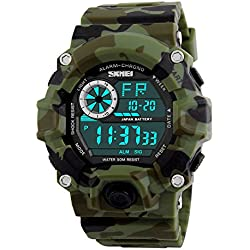 Digital Military Sports Boy Watch Waterproof Military Camouflage Wrist Watches for Youth Teen or Men