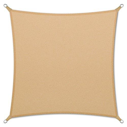 casa pura Sonnensegel Wasserabweisend imprägniert | quadratisch, 3x3m | Testnote 1.4 | UV Schutz | viele Farben (Sandfarben)