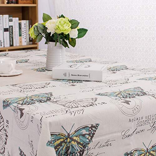 WJYdp Quadratische Tischdecke Aus Baumwolle Und Leinen Gedruckt Einfache Pastorale Wind Butterfly...
