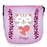 Umhängetasche für Kinder mit Namen Freya und schönem Motiv - Katze mit Herz - | Schultertasche für Mädchen