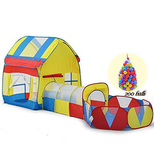 XIAO&Z Kinderzelt Spielzelt Kinder Tunnelzelt für Kinder Baby 3 in 1 Spielplatz für Zuhause und im Garten Kinder Bällebad Pop Up Zelt,200balls