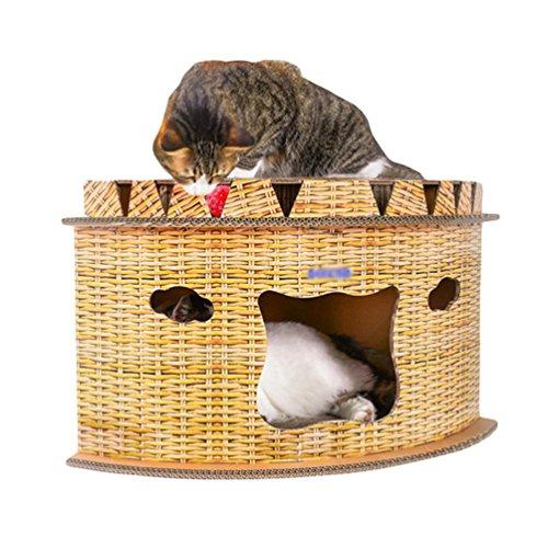 Jeelinbore angolo tiragraffi per gatti in cartone ondulato con catnip cuccia letto per animale interno una pallina per giocare (forma del settore, 63x46x36cm)