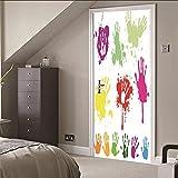 Autocollant 3D Porte Motif Doodle Palm Stickers Muraux (77X200CM) Pvc Étanche Amovible Papier Peint Amovible Photo Pour La Cuisine Salon Chambre Décoration de La Maison